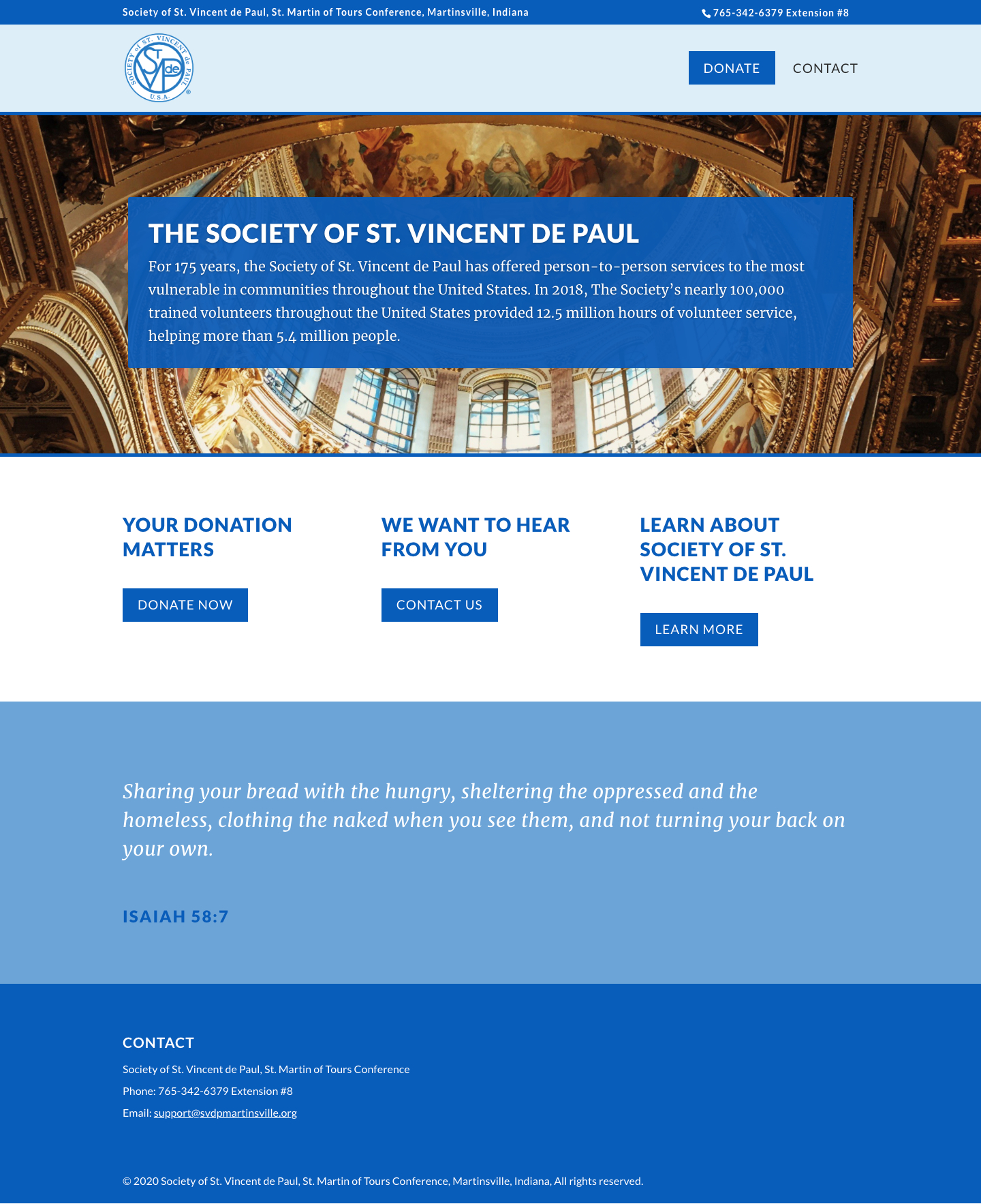 St. Vincent de Paul homepage screenshot